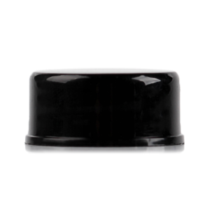 Black glossy PP plastic bottle screw cap with 24-410 neck finish
