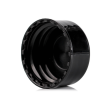 Black glossy PP plastic bottle screw cap with 24-410 neck finish