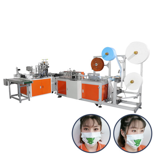 in stock fully automatic high speed 1+1 surgical positining mask machine can use spunlace non-woven fabric mask making machine