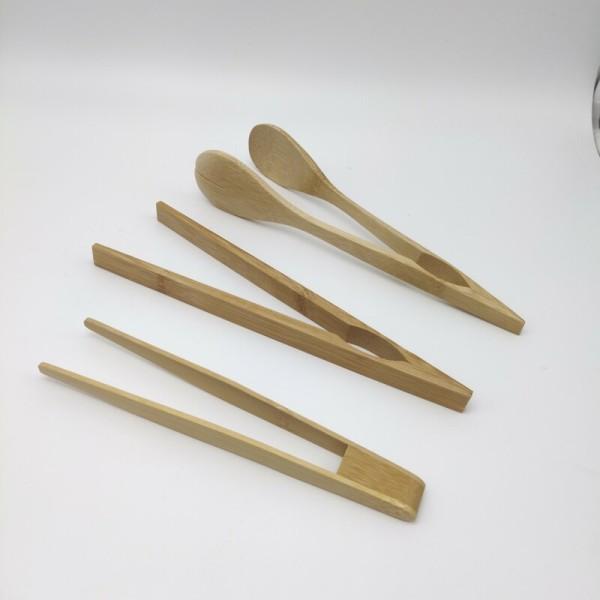 天然可重复使用的竹钳|用于烹饪|烤面包机钳|烤面包钳|烤面包钳|厨房钳