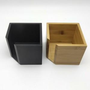 方便和现代的竹制纸巾盒|环保拉式立方体分配器-浴室,办公桌和汽车的装饰架/整理器