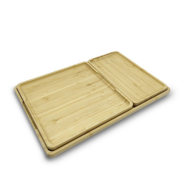 Solid And Reusable Large Bamboo Serving Tray  Suitable For Various Occasions And Uses Customizable Tea Trays Combo Barbecue(BBQ) Tray General Serving Tray Direct-sale Wholesales Customizable Text,Logo Guaranteed Natural Materials 100% Eco-friendly