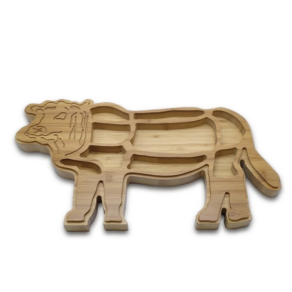 Creative Bamboo Tray Cattle Feast Tray Beef & Steak Plate Catering Container Direct-sale, Wholesale Customizable Text or Logo Engravable