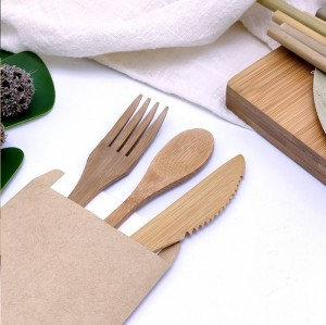 Natural Bamboo Fork, Knife And Spoon Set|Dessert Tableware|Eco-friendly Tableware Set| Degradable Product|Customizable Logo