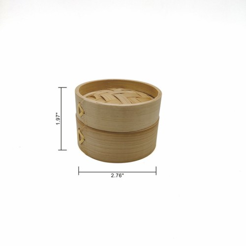 Mini Bamboo Steamer Natural And Eco-Friendly    utensils   2-Tiers Chinese Food Steamers, Natural Bamboo Steam Basket, Great for dumplings, vegetables, chicken, fish, Dim Sum