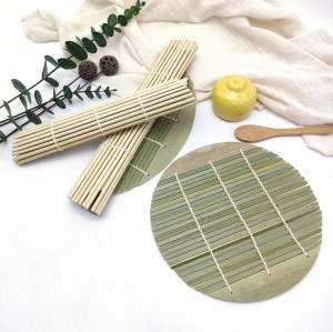 Bamboo Sushi Roll Bamboo Weave Curtain Round Green Skin Roll Curtain Food Placemat Factory Wholesale