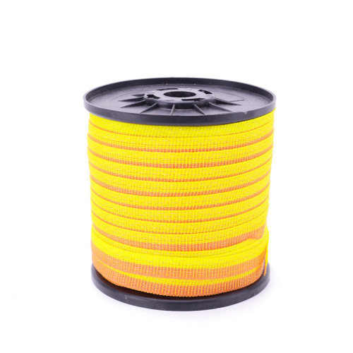 Weather-Resistant UV Protected Electric Fence Polytape For Horse Livestock, Weather-Resistant UV Protected and Lock-Stitched Edges Polytype, Yellow