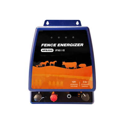 Portable Security Electric Fence Energizer 3.5Joule For Horses,  250 Acres of Clean Fence, Powers Up to 55 Miles