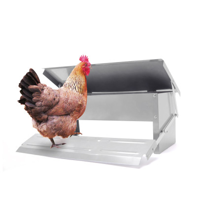 Matel Waterproof Farm Automatic Poultry Feeder With Lid For Chicken, Sturdy Galvanized Steel Poultry Feeders, Automatic Chicken Feeder