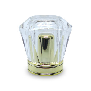 غطاء زجاجة عطر أكريليك شفاف مع إدراج PP ذهبي حسب الطلب | زجاجات GP
