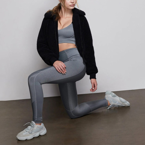 Wholesale high waist nude reflective fitness soft tight yoga leggings