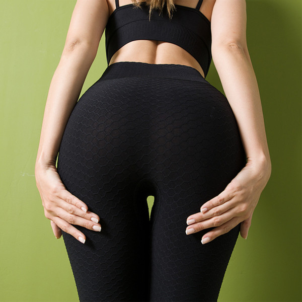 Honeycomb pants seamless knitted yoga pants
