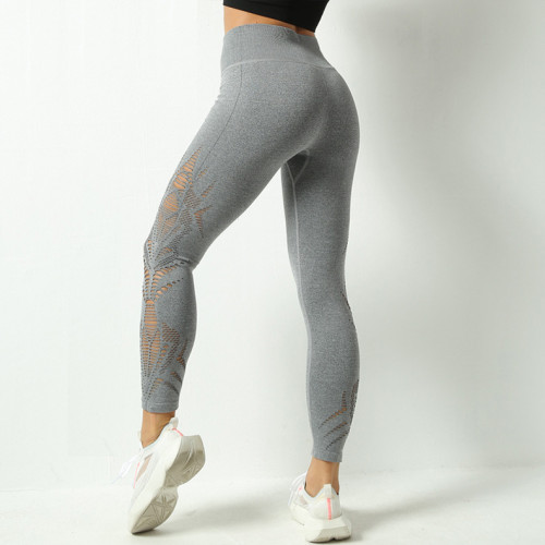 Hollow yoga pants sports women's high waist high elastic quick-drying breathable yoga pants