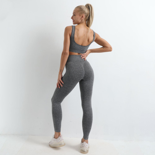 Hip-lifting seamless quick-drying fitness bra set