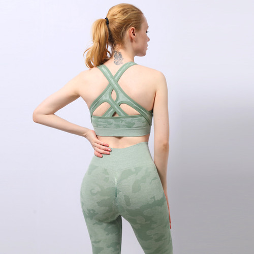 Camouflage shark high stretch bra trousers yoga suit set