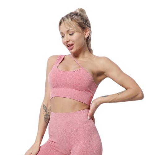 Camisole single shoulder strap bra shorts suit workout clothes women