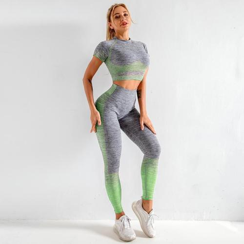 Knitted short-sleeved hip-lifting elastic fitness sports yoga wear