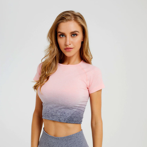 Knitted seamless top, gradient fitness t-shirt, sports yoga, short-sleeved yoga clothes, women