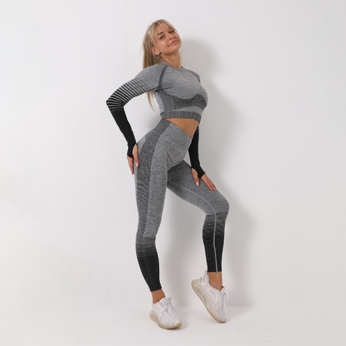 Sports tights showing belly button seamless long sleeves