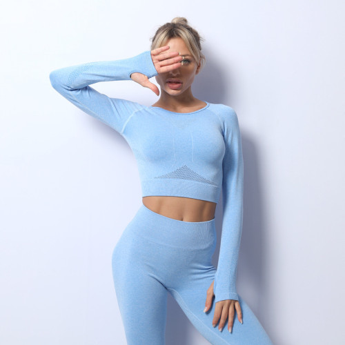 Seamless yoga wear high stretch hollow back workout wear sports long-sleeved top
