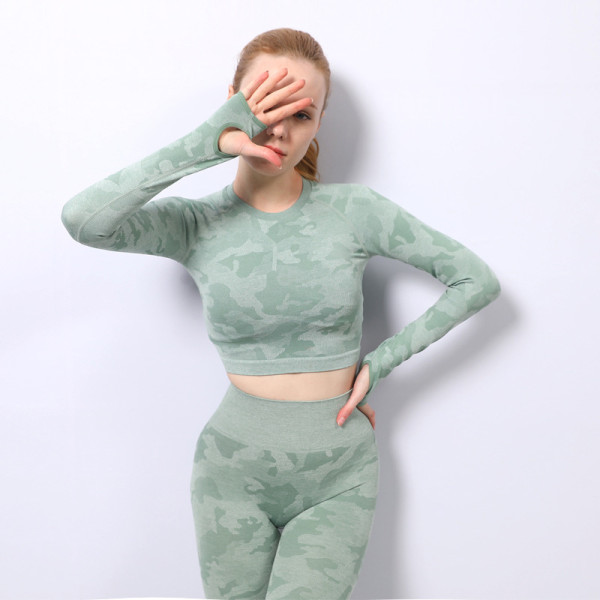 Seamless yoga wear long-sleeved new high-elastic hollow beautiful back