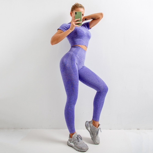European and American seamless yoga clothing suit knit short-sleeved hip-lifting elastic fitness exercise little yoga clothing