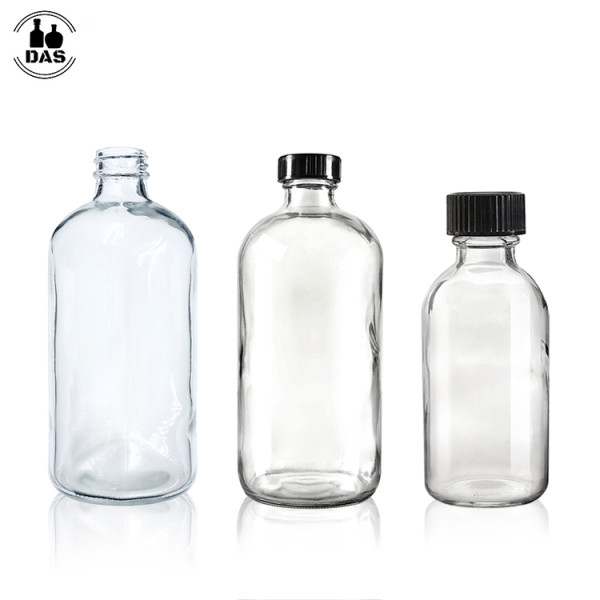 Boston Round Glass Bottles   Clear Glass Bottles with Black Poly Cone Caps for Juice, Potion, Liquor, Kombucha