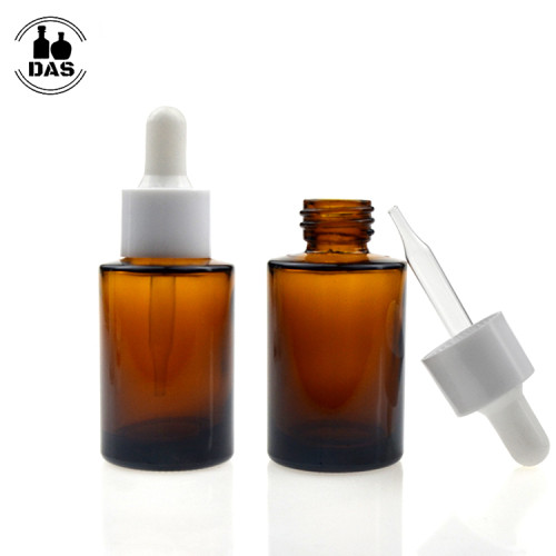 1 oz Amber Glass dropper bottles | Eye Cylinder Glass Bottles with White Smooth Dropper for Serum, Essential Oil,