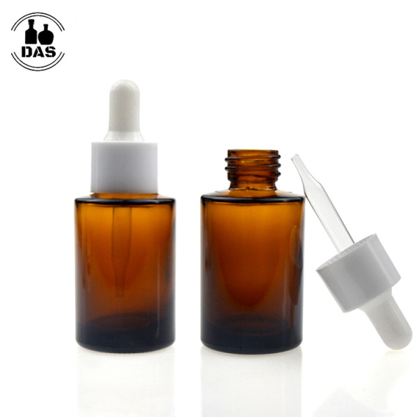 1 oz Amber Glass dropper bottles   Eye Cylinder Glass Bottles with White Smooth Dropper for Serum, Essential Oil,
