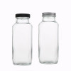 Glass Juice Bottles | Square Glass Beverage Bottles with Lids for Kombucha, Tea, Milk, Juice