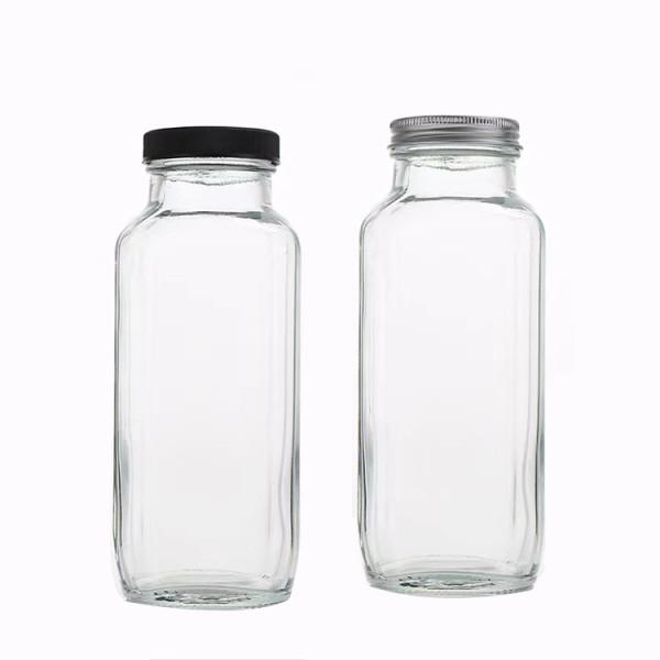 Glass Juice Bottles   Square Glass Beverage Bottles with Lids for Kombucha, Tea, Milk, Juice