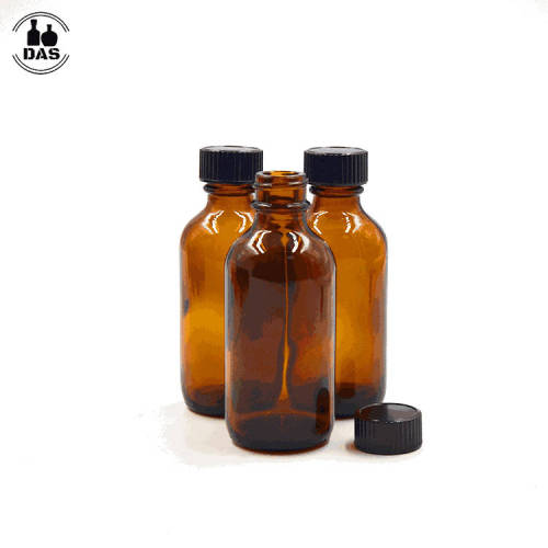 Amber Glass Bottles | 1oz Empty Refillable Boston Round Glass Bottles with Black Polycone Lined Caps for syrups, any liquids.