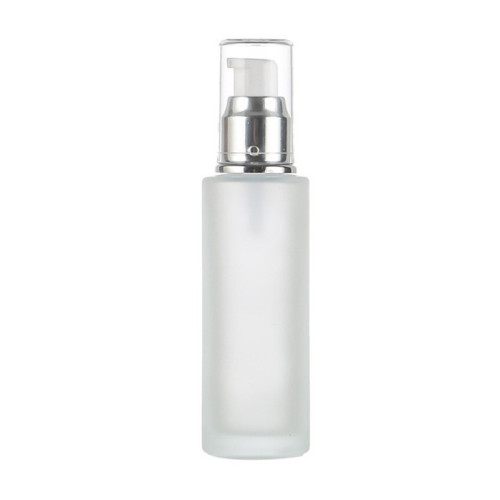 Frosted Glass Lotion Bottles | Cylinder Cosmetic Glass Pump Bottles with Pumps for Face Body Lotion
