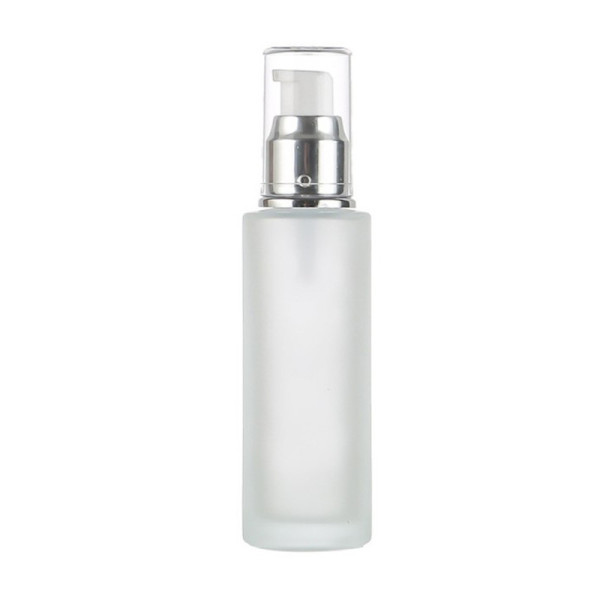 Frosted Glass Lotion Bottles   Cylinder Cosmetic Glass Pump Bottles with Pumps for Face Body Lotion