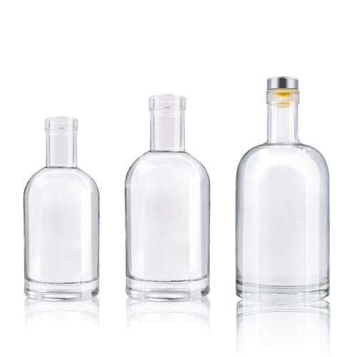 Glass Liquor Bottles | 750 ml Nordic Glass Spirit Bottles with Bar-Top Cork for liquor whisky vodka oil