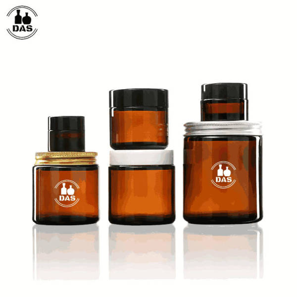 Amber Glass Cosmetic Jars   Straight Sided Glass Cream Cosmetic Jars with Lids for Face Eye Body Cream Oniment Lotion