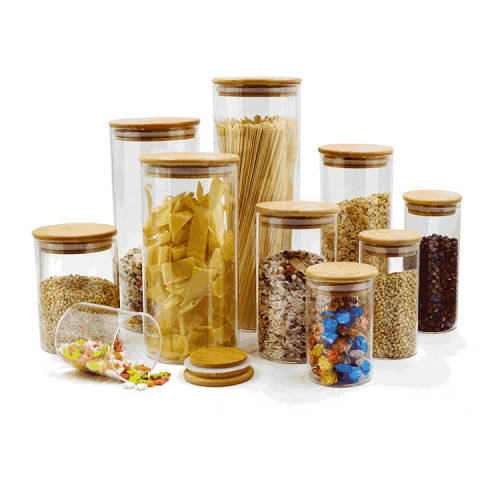 BoGlass Food Storage Jars wiht Airtight Bamboo Lids | Kitchen Glass Food Storage Containers for Pasta Coffee Flour Sugar Candy Cookie Spice Nuts