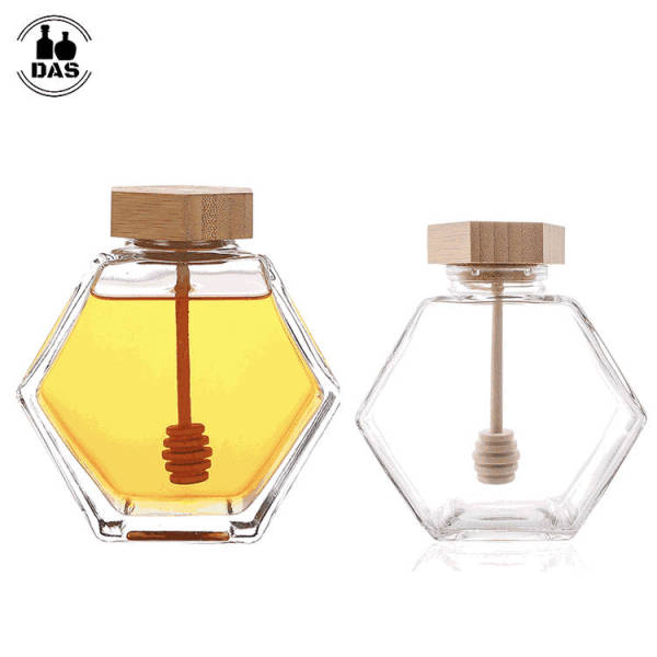 Glass Honey Jars for Home Kitchen   Glass Storage Honey Pot Container with Wooden Stopper