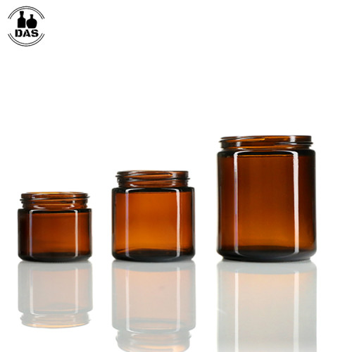 Straight Sided Glass Jars 2oz 4oz 8oz | Amber Glass Jars with Lids for Cosmetic Face Body Cream Oniment Candle
