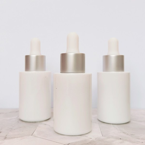 30ml White Cylinder Dropper Glass bottles   1 oz Eye Small Glass Serum Bottles with Sliver Dropper Caps for Serum, Essential Oil, Hemp Oil