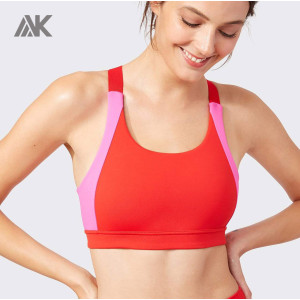 Custom Cross Back Adjustable Strappy Sports Bra with Colorful Pannel-Aktik