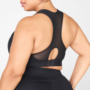 Custom High Support Plus Size Front Zip Racerback Sports Bras with Cool Mesh-Aktik