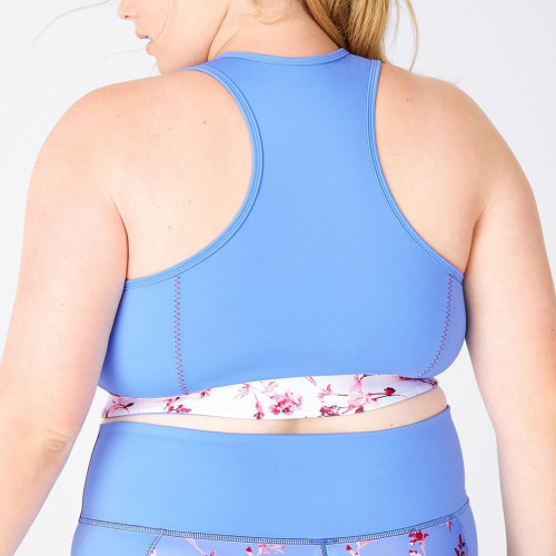 Plus Size Light Blue Full Support Best Sports Bras for Large Breasts with Custom Logo-Aktik