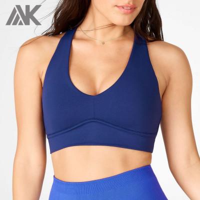 Best Push Up Navy Blue Adjustable Strappy Back Best Sports Bra For Running-Aktik