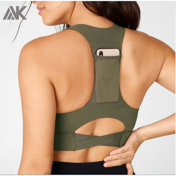Wholesale High Support Green V Neck Sports Bra for Running with Phone Pocket-Aktik