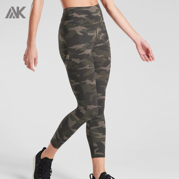 Custom Camouflage Printed womens high waisted workout leggings with Pockets-Aktik
