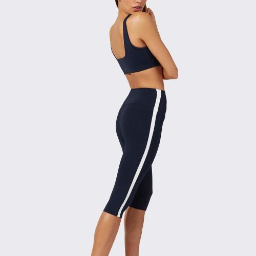 Custom Black and White Striped Capri Best High Waisted Leggings-Aktik