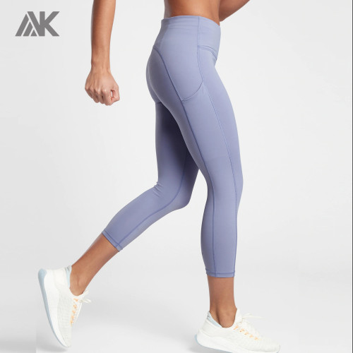 Custom High Waisted Tummy Control Capri Plus Size Leggings with Pockets-Aktik