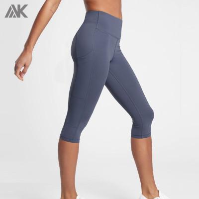 Custom Womens Grey Plus Size Capri Leggings with Pockets on Both Side-Aktik