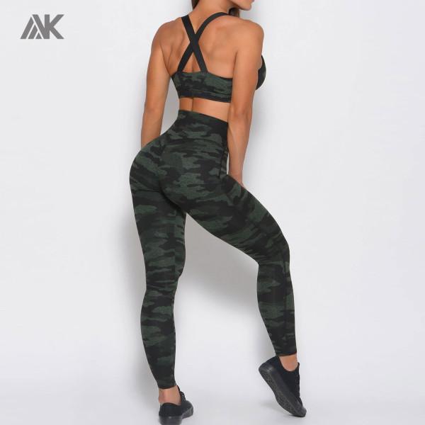 Private Label Wholesale Activewear Vendor Camo Sports Bra and Leggings Set-Aktik